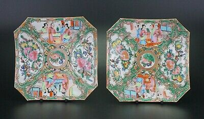 Pair Antique Chinese Canton Famille Rose Porcelain Square Plate Tray 19th C