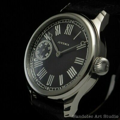 Juvenia Vintage Mens Wrist Watch Men Black Mechanical Men's Wristwatches Swiss