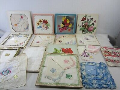 Vintage Lot of Boxed & Loose Handkerchiefs with Tags- Unused