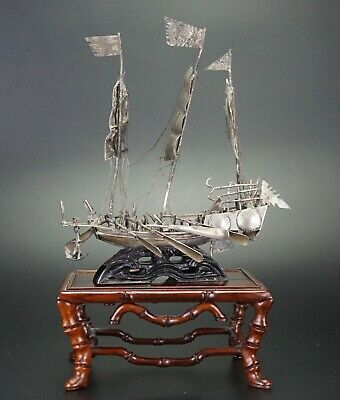 Antique Chinese Solid Sterling Sliver Battleship on Wooden Stand 19th/ 20th C