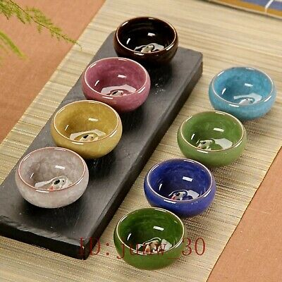 Multi-Color 3D Koi Fish Ceramics Kung Fu Tea Ceremony Tea Cup 8pcs Set