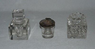 3 Miniature Antique Glass Inkwells, 1 Shell Lid