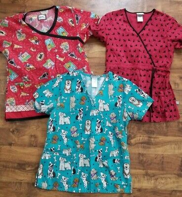 a7b351ae4 lot DOG puppy lover SCRUB TOP Nurse CNA VET Dental tech uniform XS 36-38