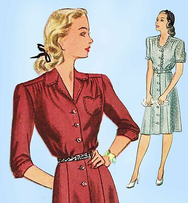 1940s Vintage Simplicity Sewing Pattern 2160 Misses Shirtwaist Dress Sz 34 Bust