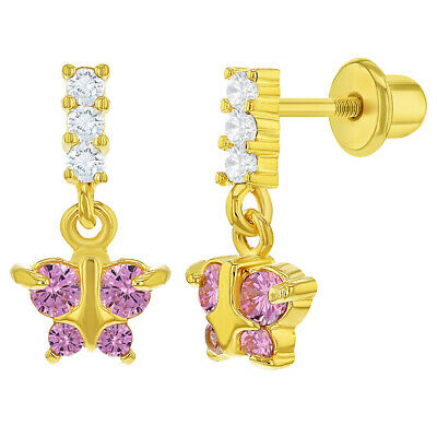 817c1529a 18k Gold Plated Pink Crystal Butterfly Screw Back Dangling Earrings Girls  Child