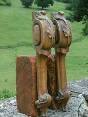 SUPERB Pr 19thc LONG WALNUT WOOD CARVED CORBELS WITH ACANTHUS LEAF