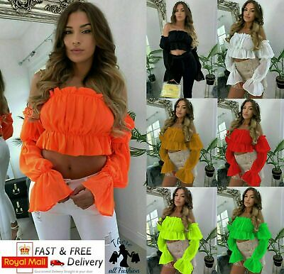 73ae5aff373 Women's Ladies Off Shoulder Mesh Boob Tube Ruched Frill Ruffle Bardot Crop  Top