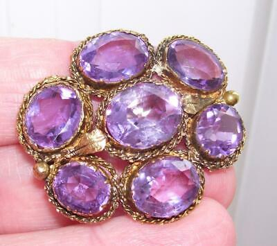 Stunning Large Antique Victorian 9ct Gold & Stone Oval Facet Amethyst Brooch Pin