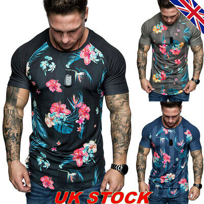 Mens Floral Short Sleeve Muscle Tops Tee Summer Casual Party Pullover T Shirt UK
