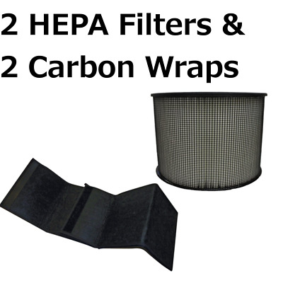 2 HEPA Filters for Filter Queen Defender Air Purifier 360 AM4000 D360 w/ 2 Wraps