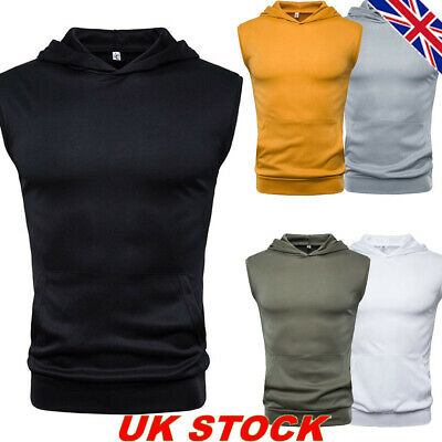 Mens Hooded Slim Fit Tank Tops Vest Sleeveless Summer Fitness Gym Muscle T Shirt