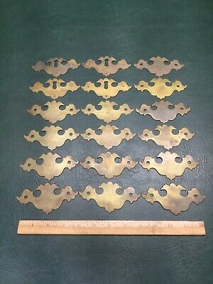 Set of 18 Vtg Brass Backplates Escutcheon Chippendale Style Drawer ~ 4 Keyholes