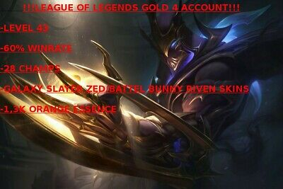 League Of Legends GOLD4 Account, 60% WR,28 CHAMPS, 2 SKINS,