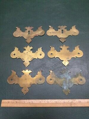 Set of 6 Vintage Brass Pulls/ Escutcheon Chippendale Style Drawer ~ Two Keyholes