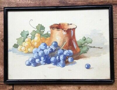 Antique 19th French Century Watercolour Painting In Lacquered Frame