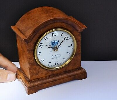 Elegant Vintage Mantel Clock (Reproduction) + Walnut Effect Case Quartz Movement