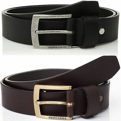 "Alpine Swiss Mens Leather Belt Slim 1 1/4"" Casual Jean Dakota Signature Buckle"