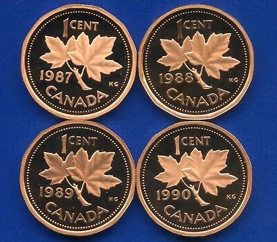4 Canada Proof Unciculated 1 Cent Coins 1987 1988 1989 & 1990