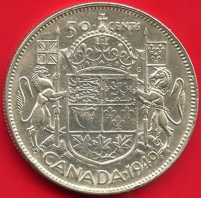 "1949 Canada Silver 50 Cents ""Wide Date"" 11.66 Grams .800 Silver"