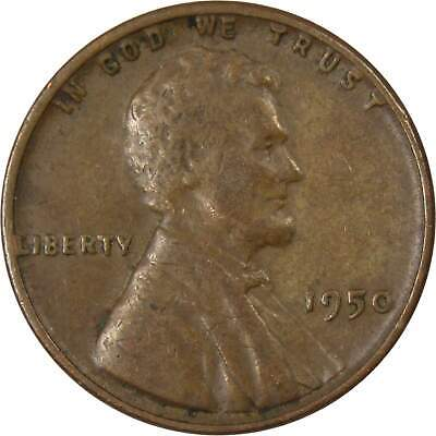 1950 1c Lincoln Wheat Cent Penny Average Circulated