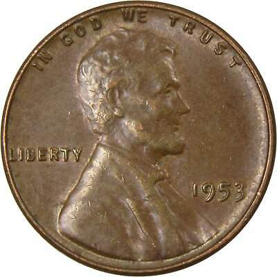 1953 1c Lincoln Wheat Cent Penny Average Circulated