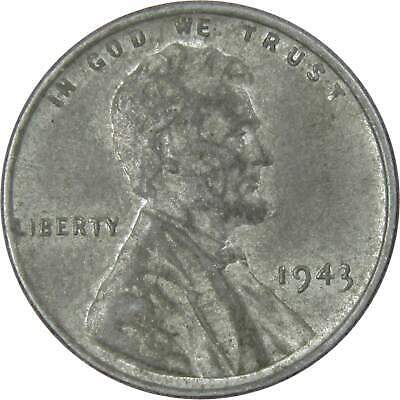 1943 1c Lincoln Steel Wheat Cent Penny Average Circulated