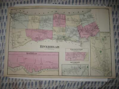 Antique 1873 Riverhead Jamesport Aquebogue Wading River Long Island New York Map