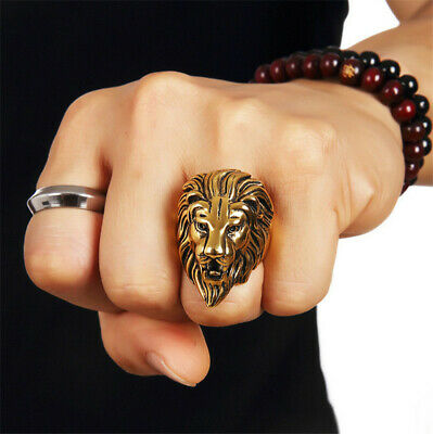 Retro Vintage Silver/Gold Color Alloy Lion Head Rings Mens Lion King Crown Rings