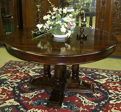 """Antique Style Country French 54"""" Round Solid Hardwood Dining Room + Entry Table"""