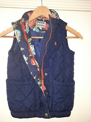Joules Girls Navy Quilted Gilet Bodywarmer Sleeveless Jacket Size Age 8