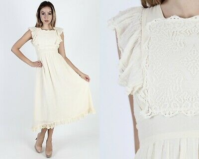 Vintage 70s Gunne Sax Boho Wedding Cream Gauze Pinafore Lace Prairie Maxi Dress