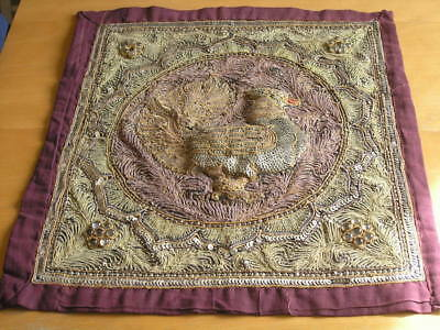 Antique Burmese Kalaga Panel Peacock Glass Beads Sequins Couched Embroidery