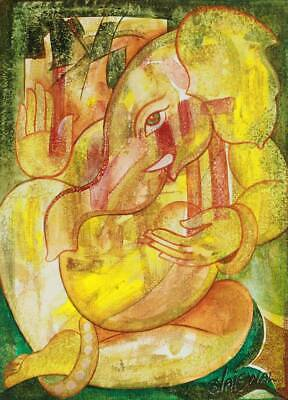Original Ganesha Painting Signed 'The First to Be Worshipped' NOVICA India