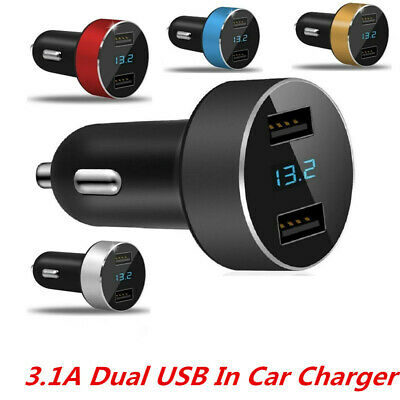 Dual 3.1A USB Car Charger adapter 2 Port LCD Display 12-24V Cigarette Socket New