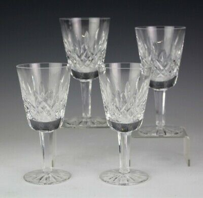 Set of 4 WATERFORD Deep Cut Irish Crystal LISMORE White Wine Goblet Glasses MBH