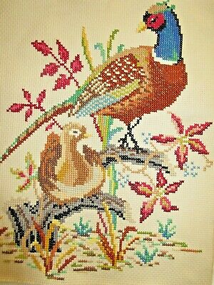 Craft Cross Stitch Completed And Framed Cock & Hen Pheasant Birds