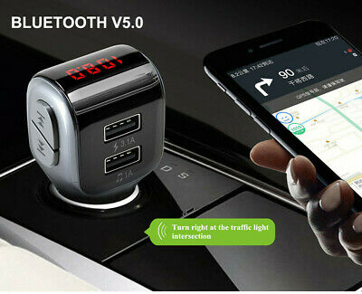 Bluetooth v5.0 Wireless FM Transmitter Dual USB Charger for Car iPhone Samsung
