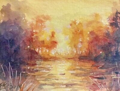 ACEO Original painting sunset landscape Lake art card originals listed by artist