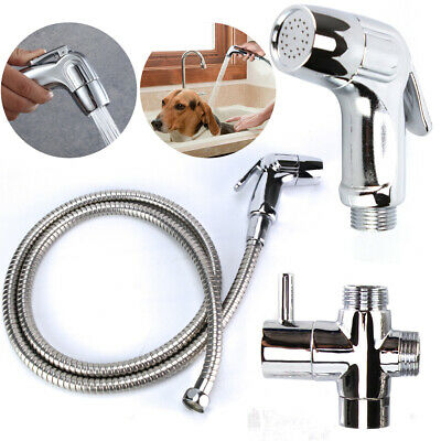 Stainless Steel Handheld Bidet Spray Shattaf Toilet with T-Adapter and Hose Kit