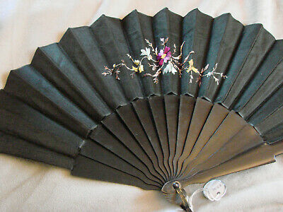 Vintage Hand Fan EMBROIDERED Black Large 10x20 Edwardian Floral Antique