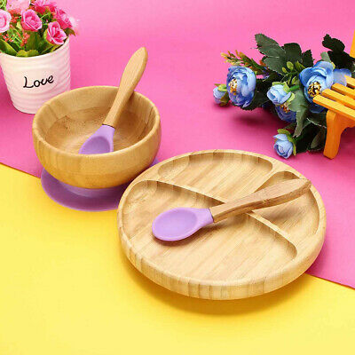 Baby Tableware Set Bamboo Training Suction Bowl Matching Spoon Children Food