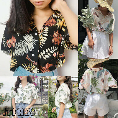 AU HOT Women Summer Loose Half Sleeve Blouse Leaf Printed Tops Shirts Plus Size