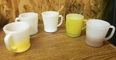 5 Fire King Mugs Milk Glass Coffee Cups Mugs Fade to Pink; Yellow; White Vintage