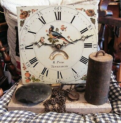 Grandfather Clock Painted Face Movement, Pendulum & Weight By  R Prew Tewkesbury