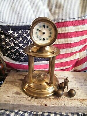 Antique Brass Anniversary Clock For Spares & Repairs