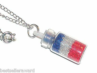 1pc Glass Crystal balls RWB bottle pendant vial patriotic flag locket Necklace