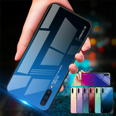 For Samsung Galaxy A20 A30 A50 Gradient Glass Hybrid Hard Protective Case Cover