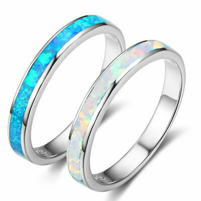 Exquisite 925 Silver White/Blue Fire Opal Ring Women Wedding Engagement Jewelry