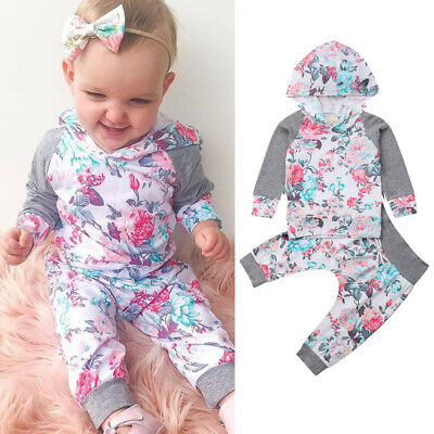 Newborn Baby Boys Girls Kids Floral Hooded Tops Pants 2Pcs Outfits Set Clothes