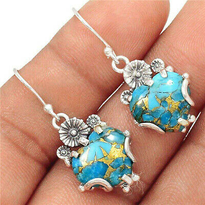 Trendy Woman 925 Silver Love Heart Turquoise Hook Pendant Charm Gift Earrings